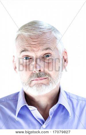 caucasian senior man portrait mistrust sullen isolated studio on white background