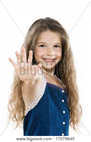 caucasian little girl portrait high-five salute isolated studio white background