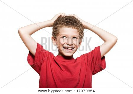 little caucasian boy portrait mischief isolated studio on white background