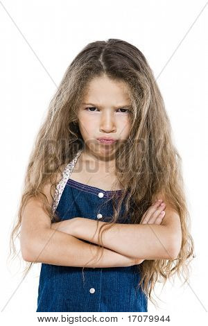 caucasian little girl portrait pout arms crossed brat attitude isolated studio on white background
