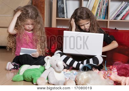 caucasian little girls game console misunderstand isolated studio