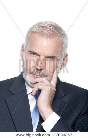 caucasian senior businessman portrait thinking isolated studio on white background