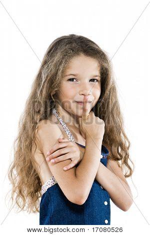caucasian little girl portrait hush sign isolated studio on white background