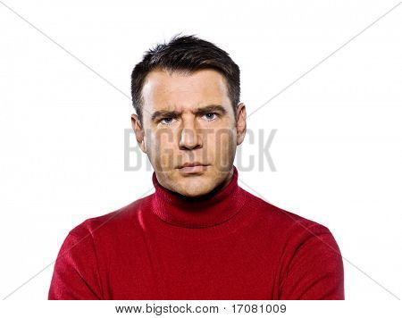 caucasian man displeased frowning studio portrait on isolated white background