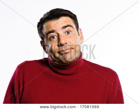 caucasian ignorant man Shrugging pouting puckering studio portrait on isolated white background