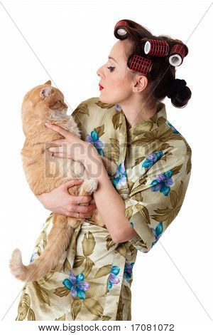 Happy Young Woman With A Cat.