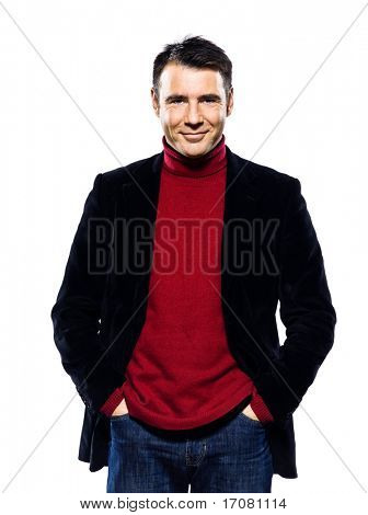 caucasian handsome man portrait smiling cheerful seducer studio portrait on isolated white background