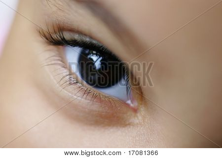 Close up of a young child's eye