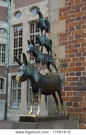 Famous statue in the center of Bremen, Germany, depicting the donkey, dog, cat and cockerel from Grimm's famous fairy tale The Bremen Town Musicians
