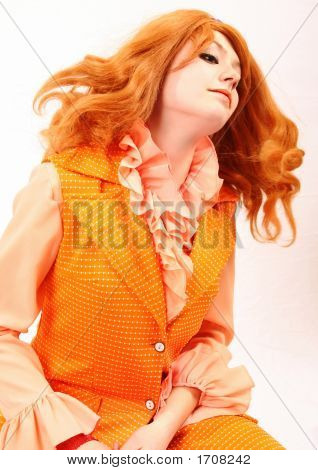 Orange Plastic Fashion Woman In Red And Auburn Beauty Throwing Hair