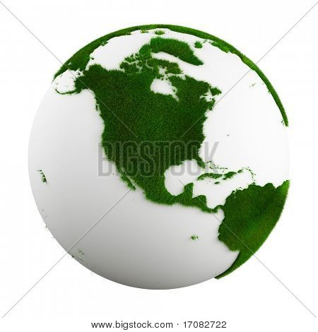3d rendering of a grass earth - north america