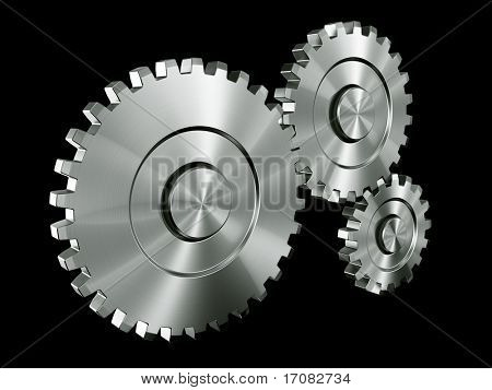 3d rendering of 3 gears