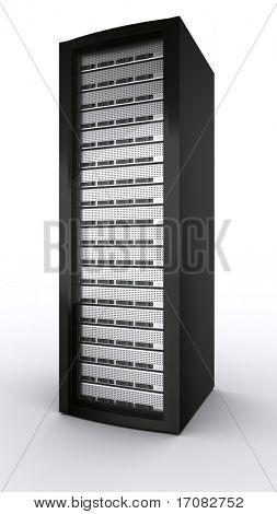 3D rendering un servidor en rack sobre fondo blanco.
