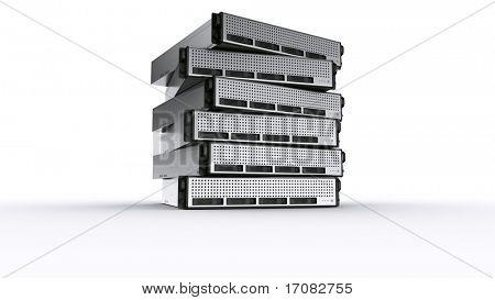 3D Rendern mehrerer Rack-Server auf weißem Hintergrund.
