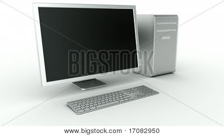 3d rendering of a stylish computer in aluminum
