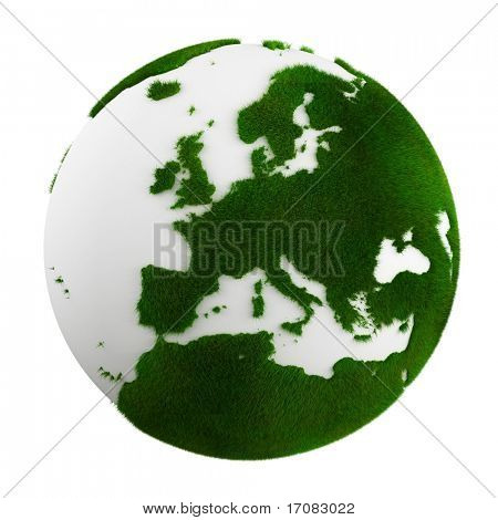 3d rendering of a grass earth - europe close up