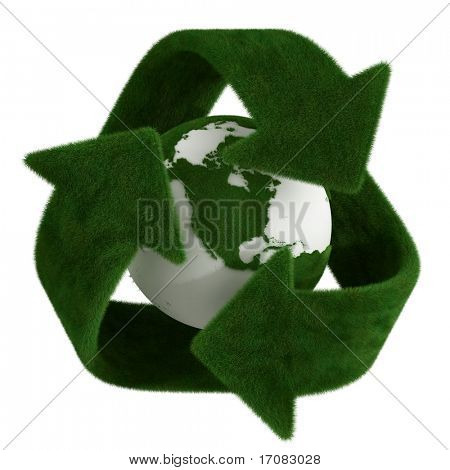 3d rendering of a grass recycle symbol with a grass earth in the center