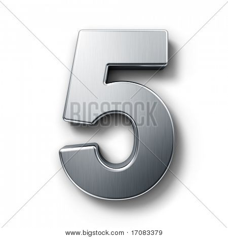 3d rendering of the number 5 in brushed metal on a white isolated background.
