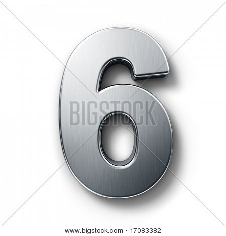 3d rendering of the number 6 in brushed metal on a white isolated background.