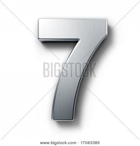 3d rendering of the number 7 in brushed metal on a white isolated background.