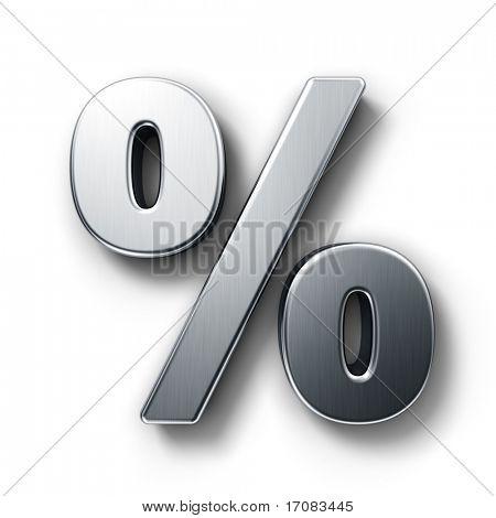 representación 3D del porcentaje firmar en metal cepillado sobre un fondo blanco aislado.