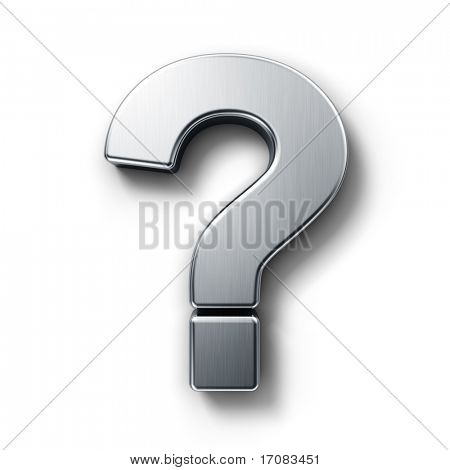 3d rendering of the question mark sign in brushed metal on a white isolated background.