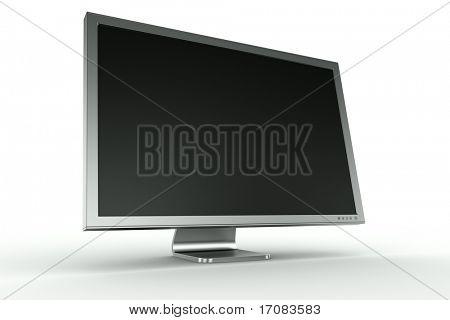 representación 3D de un monitor de aluminio sobre fondo blanco