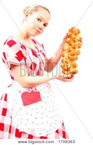 Suzy Home Maker House Wife With Mother Like Instincts And A Homely Cooked Bread Loaf Golden Brown