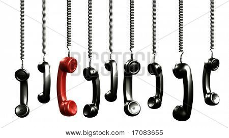 3d rendering of handsets from an old vintage phone