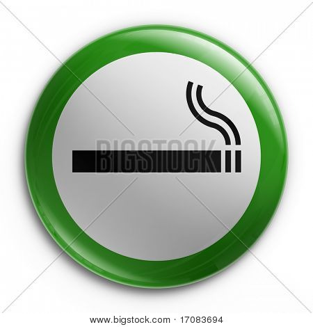3d rendering of a badge with a smoking allowed sign