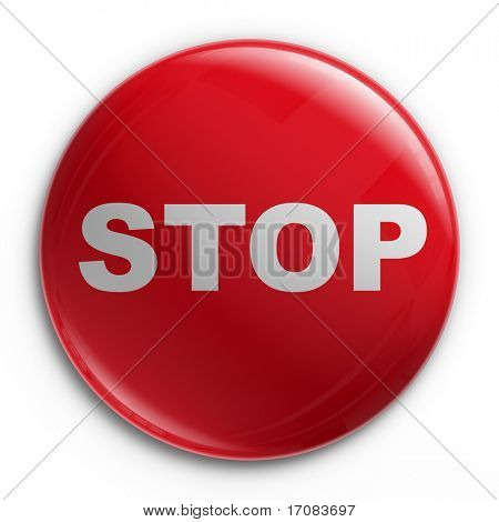 3d rendering of a badge with a STOP sign