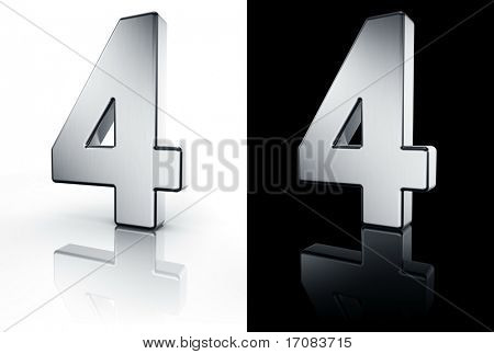 3d rendering of the number 4 in brushed metal on a white and black reflective floor.
