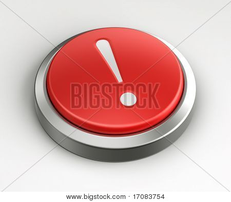 3d rendering of a red button with a exclamation point on it.