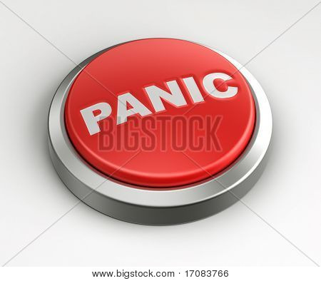 3d rendering of a red button with panic written on it.
