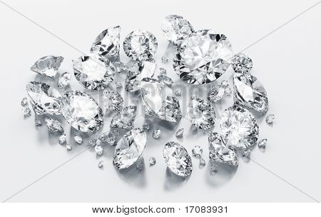 3d rendering diamonds on a white reflective floor