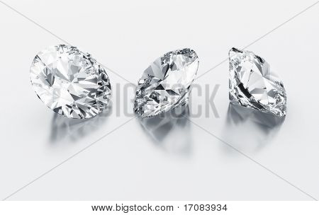 3d rendering three diamonds on a white reflective floor