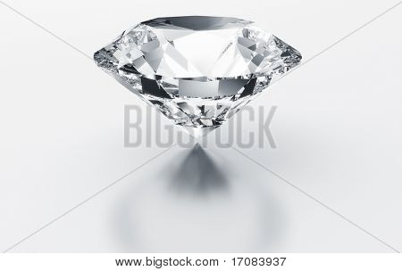 3d rendering of a diamond on a white reflective floor