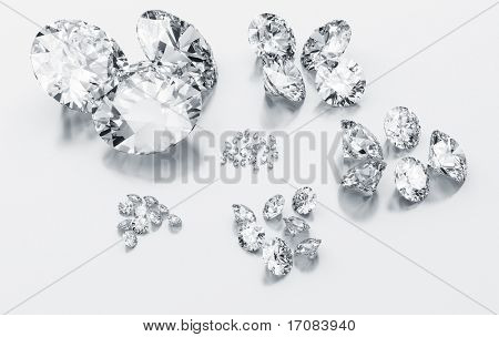 3d rendering of diamonds sorting according to size on a white reflective floor
