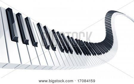 representación 3D de teclas del piano onduladas