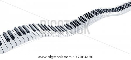 3d rendering of wavy piano keys