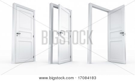 3d rendering of a door in 3 stages all shot from the same camera position