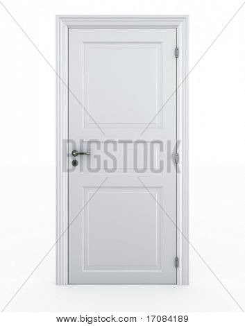 3D Rendering einer Tür auf einen weißen Boden frei stehend