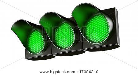 3d renderings of an all green traffic light