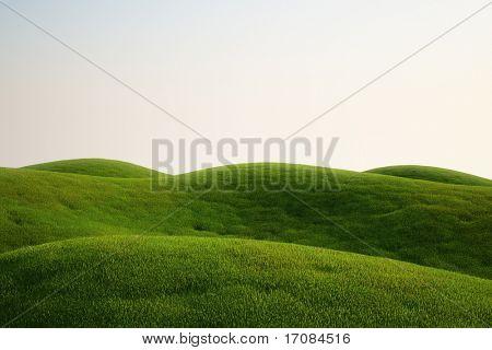 representación 3D de un campo verde