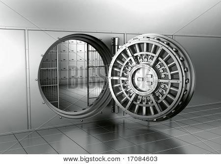 renderização 3D de um cofre de Banco aberto