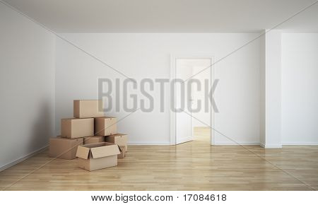 3d rendering of an empty room with cardboard boxes and an open door