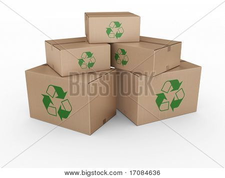 3d rendering of a cardboard boxes with a recycling logo.