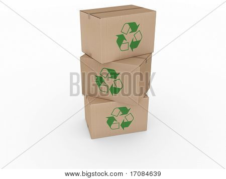 3d rendering of a cardboard boxes stacked with a recycling logo.