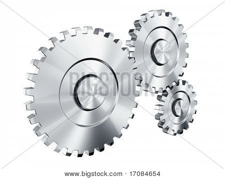 3d rendering of 3 cog wheels