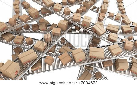 3d rendering of Cardboard boxes on a chaos of conveyor belts